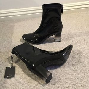 Patent leather lucite heel boots